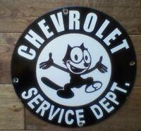"Vintage Chevrolet Service Dept. Felix Cat Heavy Porcelain Sign 12"""