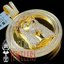 Mens Real Genuine Diamond Jesus Face Pendant Medallion 10K Yellow Gold Finish