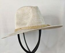 D&Y Marled Knit Panama Hat Beige Braided Band EUC