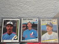 RANDY JOHNSON EXPOS/MARINERS 3 ROOKIES 1989 U.D. , FLEER, & FLEER UPDATE RC X3