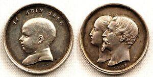 Francia-Napoleon III. Bautismo de Napoleón IV .1856. EBC+/XF+ Plata 2 g. Escasa