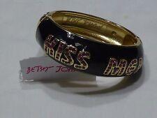 Betsey Johnson Kiss Me Rhinestone Lips Enamel Hinged Bracelet $55