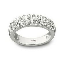 Auth SWAROVSKI rhodium-plated sparkle ring anello donna Art. 1791471 size 58