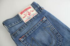 TRUE RELIGION BOBBY Men's W36/L33 Ripped Fade Effect Blue Zip Fly Jeans 22429-JS