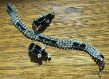 VIntage  Silvertone Crystal Rhinestones Black Glass Bracelet w/ clip on earrings