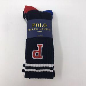 Polo Ralph Lauren 3 pair Crew Sock big P Navy White Gray