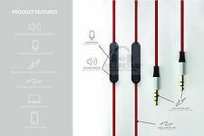 RED 1.2m Audio Lead For Skullcandy AVIATOR2.0 headphone with Mic and Remote