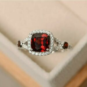 2Ct Cushion Brilliant Cut Red Garnet Halo Engagement  Ring 14K White Gold Finish
