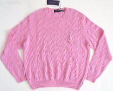$995 RALPH LAUREN PURPLE Label Pink 100% CASHMERE CABLE KNIT Sweater XXL/2XL