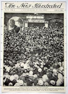 1919 Scenes In London Arrival At Kings Cross Of Mr Hawker & Commander Grieve