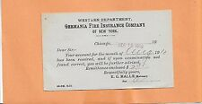 GERMANIA FIRE INSURANCE COMPANY 1910 CHICAGO  VINTAGE ADVERTISING POSTCARD >