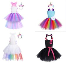 Toddler Girls Rainbow Tutu Costume Kids Unicorn Dress Party Cosplay Dress Up