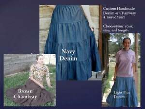 Ladies & Plus long full 4 tiered modest skirt denim blue jean brown S M L XL &
