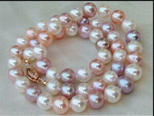 """18"""" Elegant AAA+ 8-7mm white purple pink South sea Multicolor Pearl necklace 14k"""