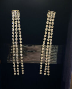 Swarovski Crystal Long Linear Curtain Earrings