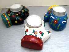 Set of 3 Mary Engelbreit Ceramic Mittens Votive Candle Holders clay mitts Unused