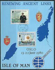 Isle of Man - Besuch von König Olav V Block 4 gestempelt 1980 Mi. 156+172