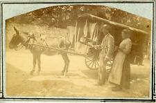 France, transport, vendeur ambulant, carriole et son cheval  Vintage albumen pri