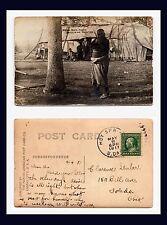 SOUTH DAKOTA HOT SPRINGS POSTMARK INDIAN BARK HOUSE REAL PHOTO 1911 TO TOLEDO OH