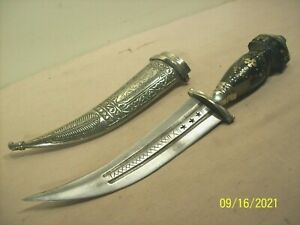antique~MIDDLE EAST KHANJAR JAMBIYA YEMENI DAGGER w/INLAID HORN HANDLE +SCABBARD