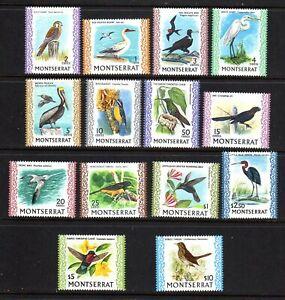 MONTSERRAT STAMPS #231-243A — BIRDS, COMPLETE SET  — 1970 — UNUSED