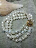 3 ROW 8-9 MM NATURAL WHITE SOUTH SEA PEARL BRACELET 14K AAA