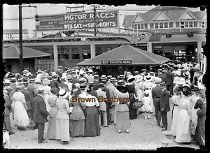 1910s Coney Island Motordrome Auto Race Ticket Booth Glass Photo Camera Negative