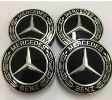 4x Original Mercedes-Benz Nabendeckel Lorbeerkranz black/schwarz A2224002200 NEU