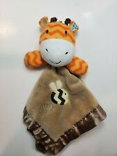 Circo Brown Giraffe Dee Security Blanket Lovey Orange Chevron Satin Edge Back