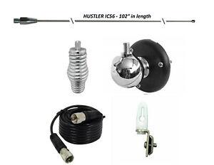 "HUSTLER 102"" CB Radio Antenna Combo Kit, BALL MOUNT, SPRING, 18' COAX, TIE DOWN"