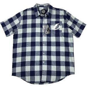 NWT NHL Tampa Bay Lightning Hockey Blue Grey Flannel SS Button Down Shirt Sz M