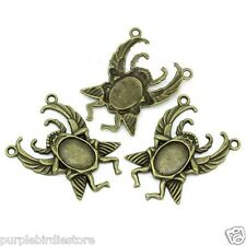 Bronze Beetle Insect Bug Cabochon Connector Pendant Charm 51mm 1 Piece SK10191
