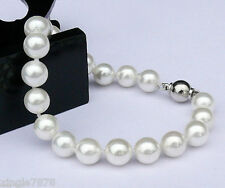 charming 8mm white South Sea Shell Pearl Bracelet AAA 7.5