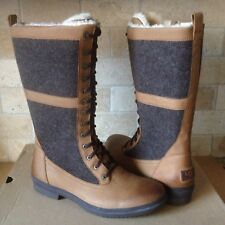 UGG ELVIA TALL CHESTNUT WATERPROOF LEATHER RAIN SNOW BOOTS SIZE US 8.5 WOMENS