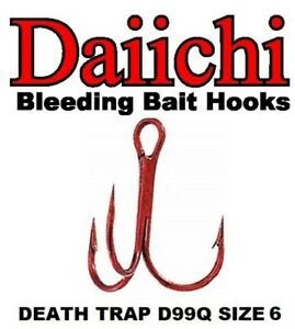 Daiichi Replacement Treble Hooks D99Q Light Wire Death Trap Bleeding Red Size 6