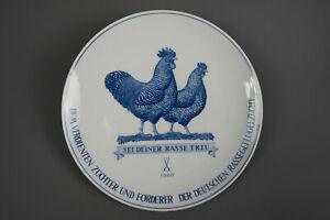 Porzellan Wand Teller Meissen Geflügelzucht Hahn Rassegeflügelzucht Henne