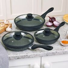 Vitinni Set of 3 Induction Safe Non-Stick Frying Pans with Glass Lids