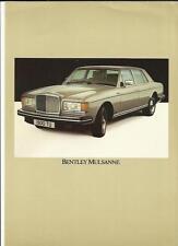 BENTLEY MULSANNE SALES 'BROCHURE'/SHEET MID 80's
