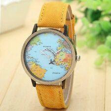 World map airplane women men Wrist Watch Denim Leather Dial Quartz Watch