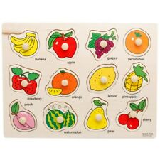 Fruits Wooden Peg Puzzle Jigsaw Bundle Shape Toys and Games for Age 2-7 Year Old