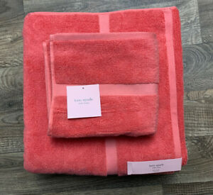 NEW Kate Spade NY Towel Set Of 3 Bright Coral - Harrington Bath & Hand Towels
