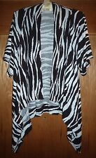 CHICO'S - ZEBRA-STRIPE DRAPING OPEN SS SWEATER – CHICO'S 0 = MISSES XS/0-2