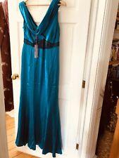 BNWT Teal 100% Silk Monsoon Long Dress/ballgown/wedding/cocktail 14. £180 Beaded