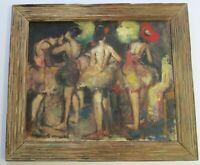SAMUEL SUNASKY PAINTING FEMALE DANCERS MODERNISM 1950 EXPRESSIONISM LARGE OIL