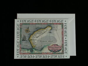 French Old World Voyage Note Card - Vintage Map Greeting Card & Envelope