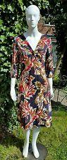Boden dress 10L grey/reds, v- neck floral below knee - lined