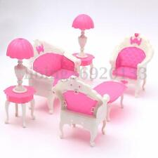 6PCS Dollhouse Furniture Living Room Parlour Sofa Chair Set Toys For Barbie Doll