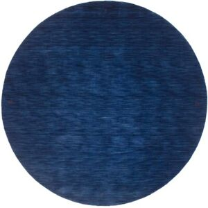 Round Solid Navy Blue Hand Loomed 8X8 Oriental Modern Area Rug Home Decor Carpet