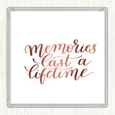 Rose Gold Memories Last Lifetime Quote Drinks Mat Coaster