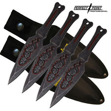 """4pc Perfect Point Pro Throwing Knife Set - 9"""" Knives Throwers Skull & Bone Desig"""
